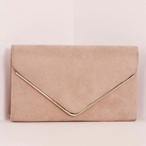 Nude Faux Suede Envelope Clutch